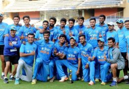 Mumbai: India Under 19 team players pose for a group photo after winning the series against England Under 19 at Wankhade Stadium in Mumbai on Wednesday. PTI Photo  (PTI2_8_2017_000243B)