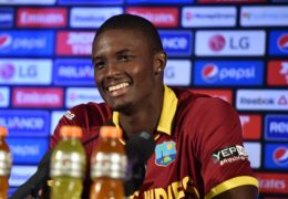 West Indies cricket captain Jason Holder speaks at a press conference in Sydney on February 8, 2015, ahead of the 2015 Cricket World Cup which will be jointly hosted by Australia and New Zealand from February 14 to March 29. AFP PHOTO / Peter PARKS  IMAGE RESTRICTED TO EDITORIAL USE - STRICTLY NO COMMERCIAL USE        (Photo credit should read PETER PARKS/AFP/Getty Images)