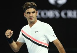 MELBOURNE, AUSTRALIA - JANUARY 16:  Roger Federer of Switzerland celebrates after winning his first round match against Aljaz Bedene of Slovenia on day two of the 2018 Australian Open at Melbourne Park on January 16, 2018 in Melbourne, Australia.  (Photo by Ryan Pierse/Getty Images)