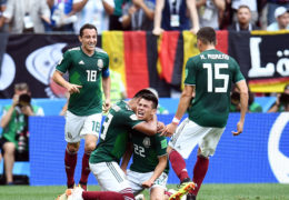 Jun 17, 2018; Moscow, Russia; Mexico midfielder Hirving Lozano (22) celebrates with teammates after scoring a goal against Germany in Group F play during the FIFA World Cup 2018 at Luzhniki Stadium. Mandatory Credit: Tim Groothuis/Witters Sport via USA TODAY Sports