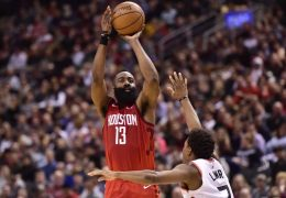 James Harden's 4th-quarter burst carries Rockets past Raptors while Celtics tear apart Warriors