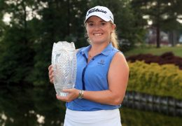 WILLIAMSBURG, VA - MAY 26: Bronte Law of England holds the championship trophy after winning the Pure Silk Championship presented by Visit Williamsburg on the River Course at Kingsmill Resort on May 26, 2019 in Williamsburg, Virginia. (Photo by Hunter Martin/Getty Images)
