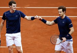 GHENT, BELGIUM - NOVEMBER 28:  Andy Murray and Jamie Murray (L) of Great Britain celebrate a break point during day two of the Davis Cup Final match between Belgium and Great Britain at Flanders Expo on November 28, 2015 in Ghent, Belgium.  (Photo by Jordan Mansfield/Getty Images for LTA)