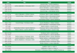 HBL PSL 2021 Schedule Announced