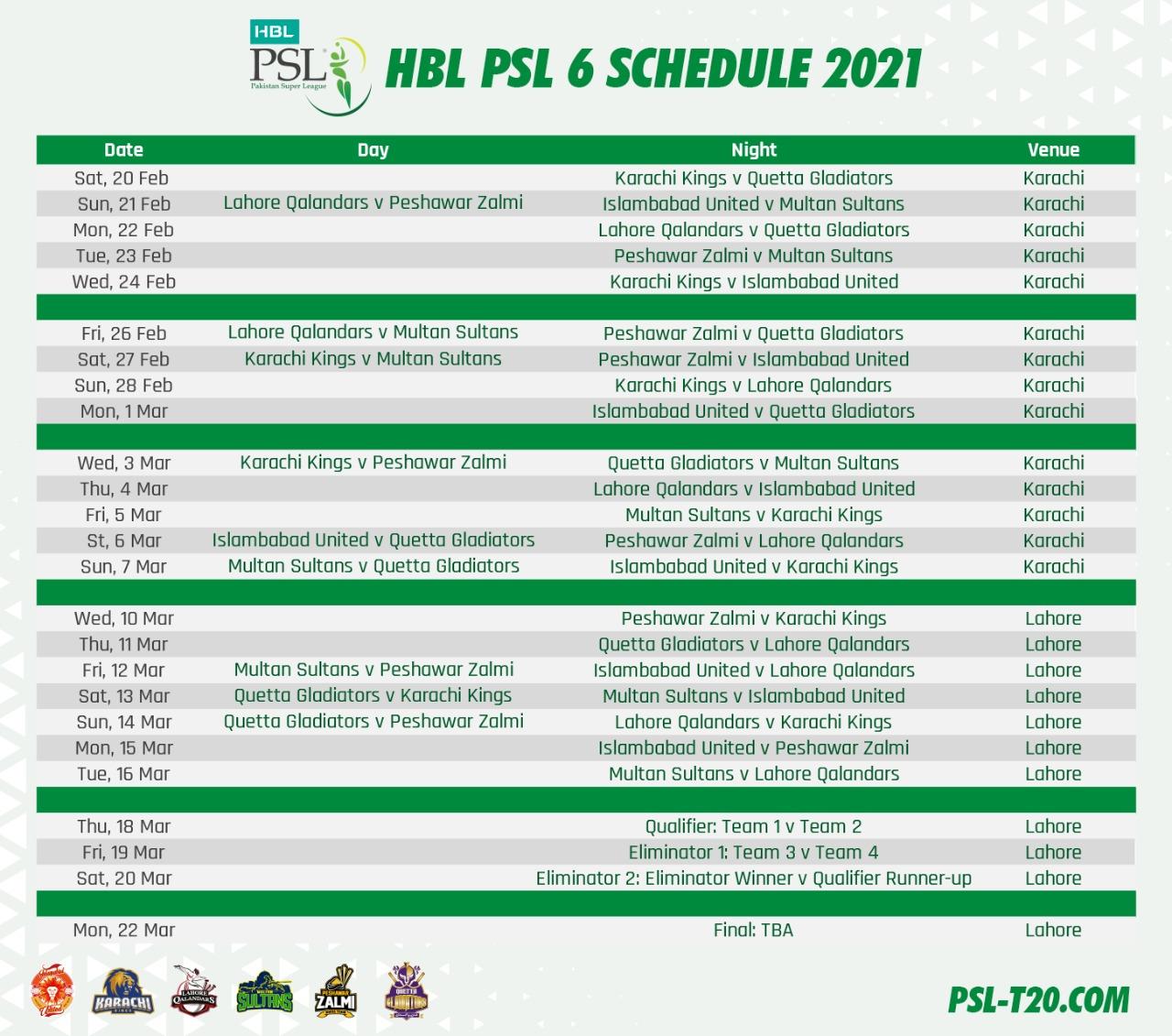 HBL PSL Schedule 2021